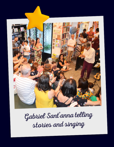 Gabriel Sant'anna telling stories and singing